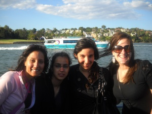Rani, Sobia, Maria and Clem on the ferry back