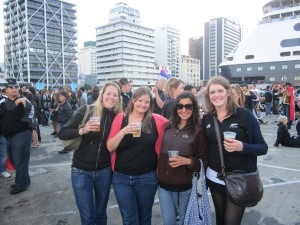 Amanda, Lucy, Bekah and I in the fan zone