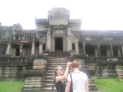 Perfect thing to do at an ancient temple... fix your hair! :-p